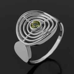 Кольцо хризолит США (серебро 925 пр. родир. бел.) огранка размер 18