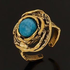Кольцо апатит синий Россия (бронза) огранка (регулируемый) размер 17,5