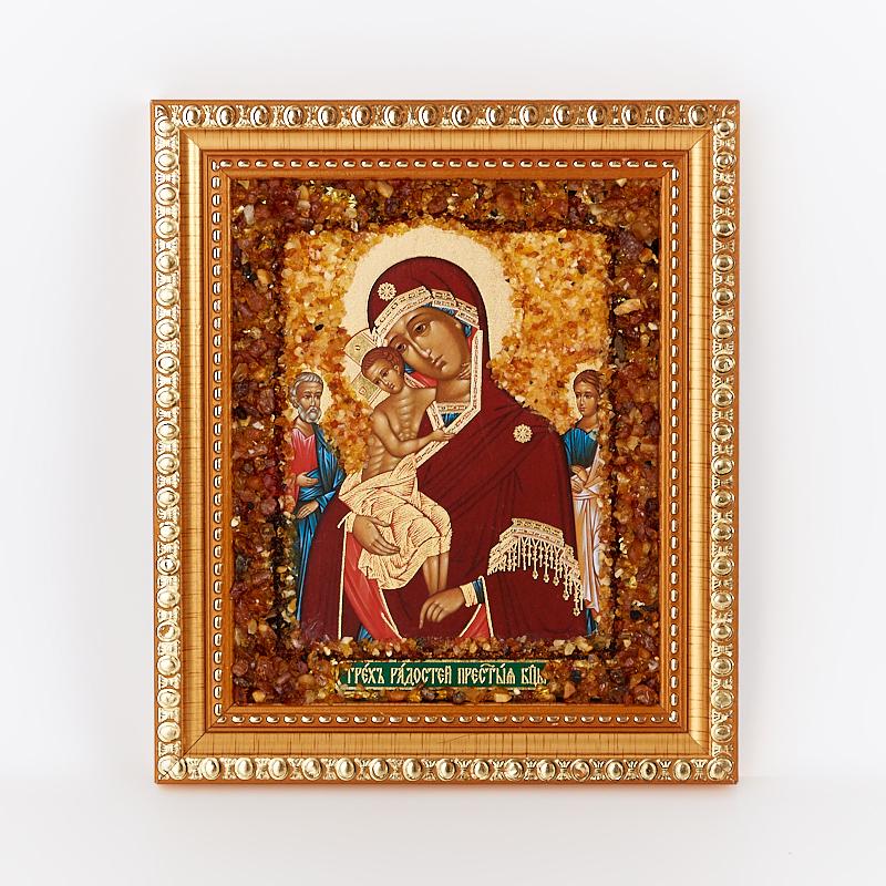 Фото - Изображение янтарь Богоматерь Трех радостей 14х16 см изображение янтарь богоматерь владимирская 13х16 см