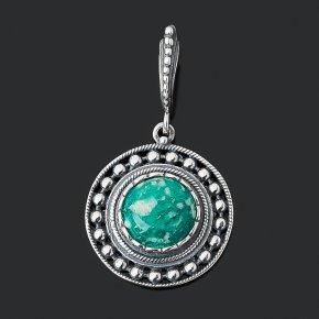 Кулон амазонит Россия (серебро 925 пр. оксидир.) круг