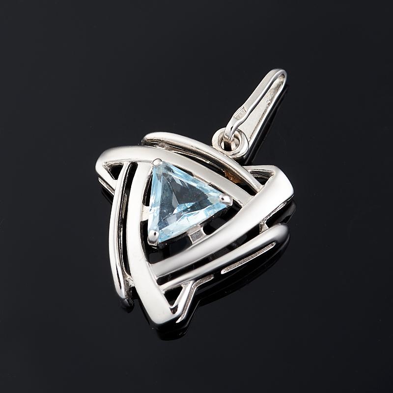 Кулон топаз голубой (серебро 925 пр. родир. бел.) огранка