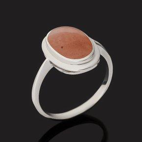 Кольцо авантюрин персиковый Индия (серебро 925 пр. родир. бел.) размер 17