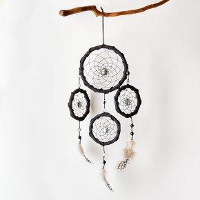 Ловец снов кварц с турмалином Бразилия (биж. сплав, перо натур., текстиль)
