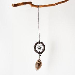 Ловец снов агат черный Бразилия (биж. сплав, перо натур., текстиль)