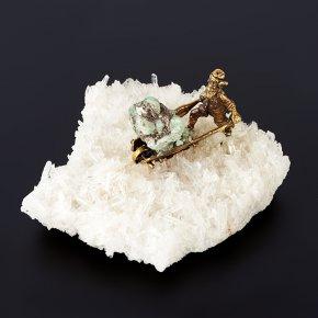 Минералогическая композиция микс берилл, горный хрусталь (бронза) 13 см