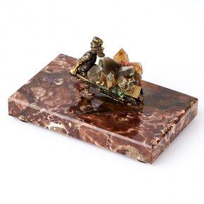 Минералогическая композиция микс пирит, раухтопаз, флюорит (бронза) 13 см