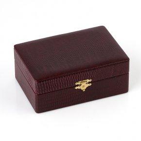 Шкатулка для хранения украшений (кожа иск.) (бордовый) 145х100х60 мм