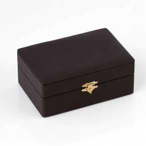 Шкатулка для хранения украшений (кожа иск.) (коричневый) 145х100х60 мм
