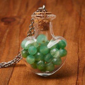 Кулон хризопраз Казахстан (биж. сплав, сталь хир., стекло) бутылочка огранка 3 см
