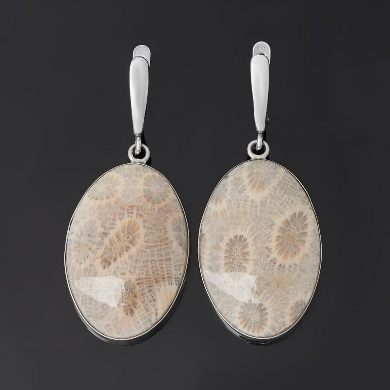Серьги коралл (биж. сплав оксидир., нейзильбер)