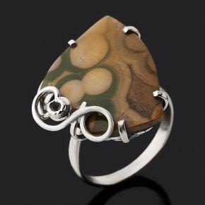 Кольцо яшма океаническая Мадагаскар (нейзильбер) размер 18,5