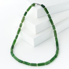Бусы нефрит зеленый Россия (биж. сплав) огранка 6 мм 49 см