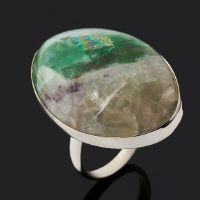 Кольцо флюорит Монголия (нейзильбер) размер 18