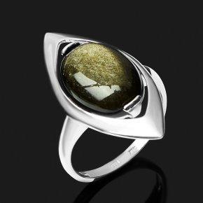 Кольцо обсидиан золотистый Мексика (серебро 925 пр. родир. бел.) размер 18,5