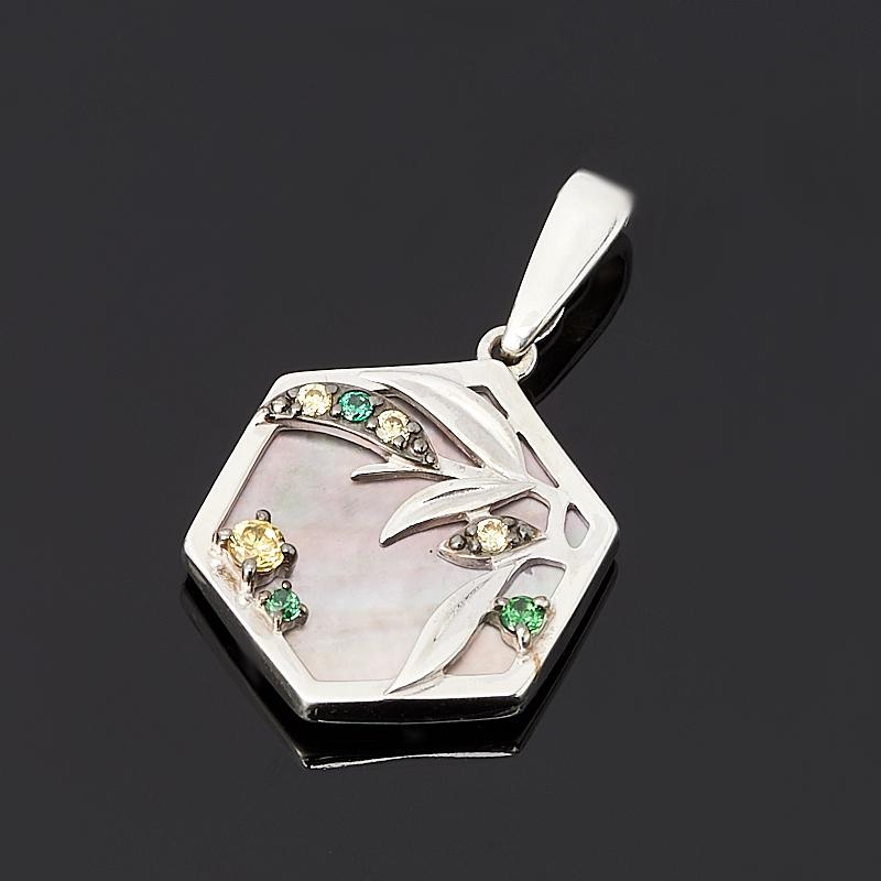 Кулон перламутр серый (серебро 925 пр. родир. бел., родир. черн.) недорого