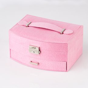 Шкатулка для хранения (текстиль) украшений (розовый) 20х15х9,5 см
