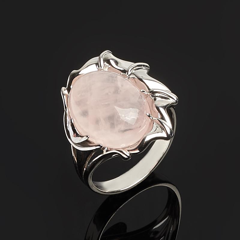 Кольцо розовый кварц (серебро 925 пр. родир. бел.) размер 17