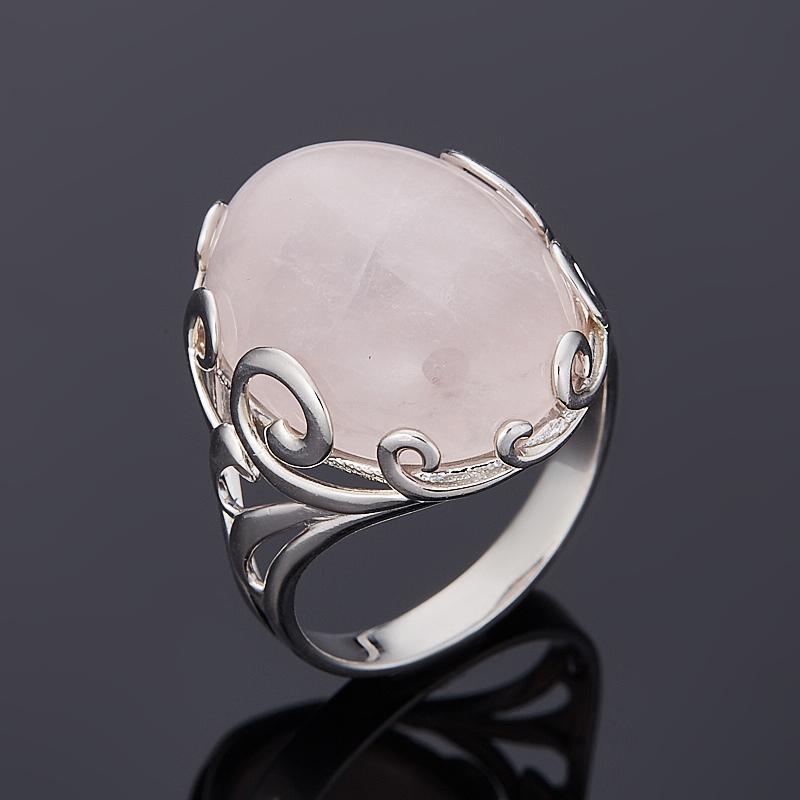 Кольцо розовый кварц (серебро 925 пр. родир. бел.) размер 18,5