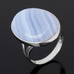 Кольцо агат голубой Намибия (серебро 925 пр. родир. бел.) размер 18,5