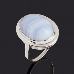 Кольцо агат голубой Намибия (серебро 925 пр. родир. бел.) размер 17,5