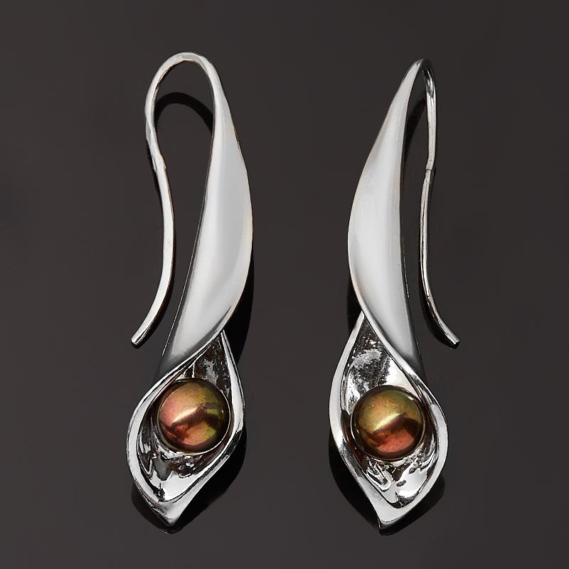 Серьги жемчуг черный (серебро 925 пр.)