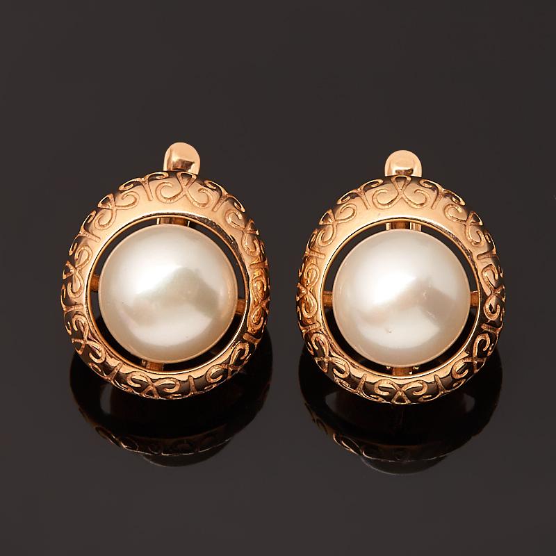 Серьги жемчуг белый (серебро 925 пр. позолота)