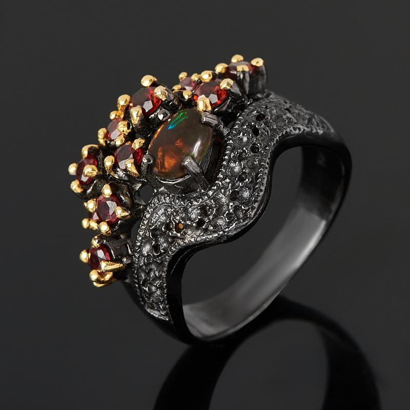 Кольцо опал благородный черный (серебро 925 пр. позолота, родир. черн.) размер 18