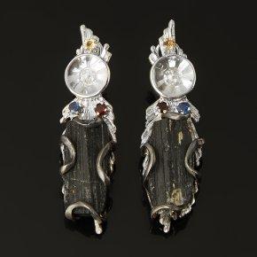 Серьги турмалин черный (шерл) Австралия (серебро 925 пр. позолота, родир. бел., родир. черн.)