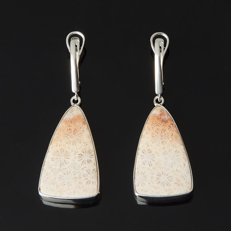 Серьги коралл (серебро 925 пр. родир. бел.)