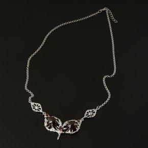 Колье гранат гессонит Индия (серебро 925 пр. позолота, родир. бел.) 56 см (+3 см)