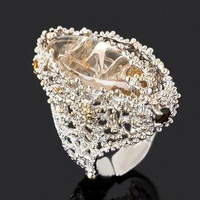 Кольцо рутиловый кварц Бразилия (серебро 925 пр. позолота, родир. бел.) (регулируемый) размер 17,5