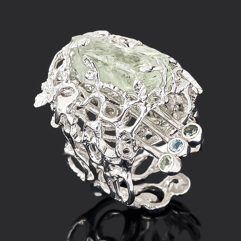 Кольцо празиолит (серебро 925 пр. позолота, родир. бел.) (регулируемый) размер 18