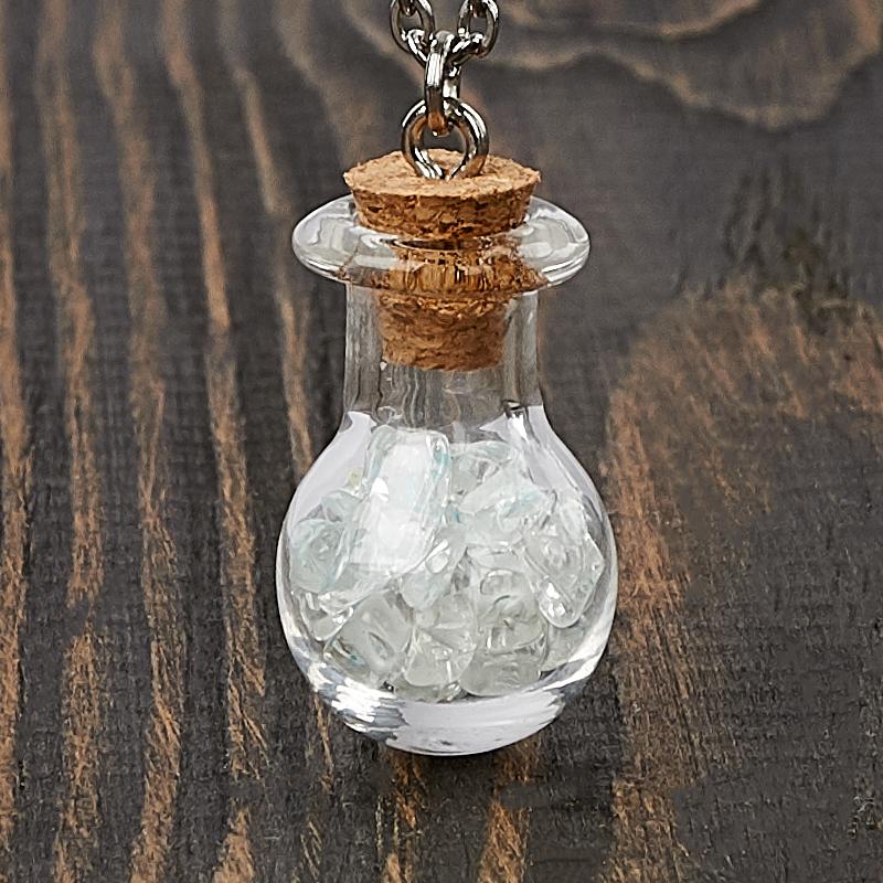 Кулон топаз голубой  (биж. сплав, сталь, стекло) бутылочка 3 см