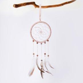 Ловец снов агат серый Ботсвана (перо натур., текстиль)