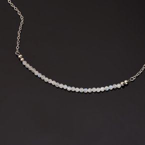 Бусы лунный камень (адуляр) Индия (биж. сплав, сталь хир.) (колье) огранка 3 мм 49 см (+7 см)