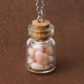 Кулон опал розовый Перу (биж. сплав, сталь хир., стекло) бутылочка 2,5 см