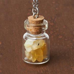 Кулон опал желтый Перу (биж. сплав, сталь хир., стекло) бутылочка 2,5 см