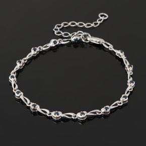 Браслет сапфир черный Индия (серебро 925 пр. родир. бел.) огранка 16 см (+5 см)