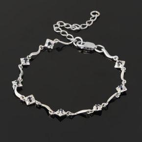 Браслет сапфир черный Индия (серебро 925 пр. родир. бел.) огранка 15 см (+5 см)