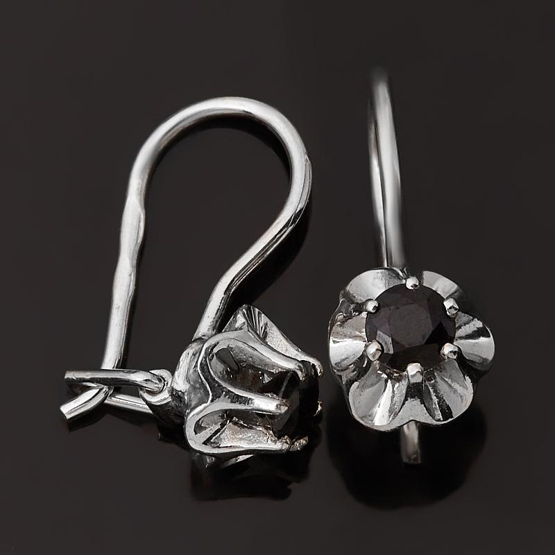 Серьги сапфир черный Индия (серебро 925 пр. родир. бел.) огранка