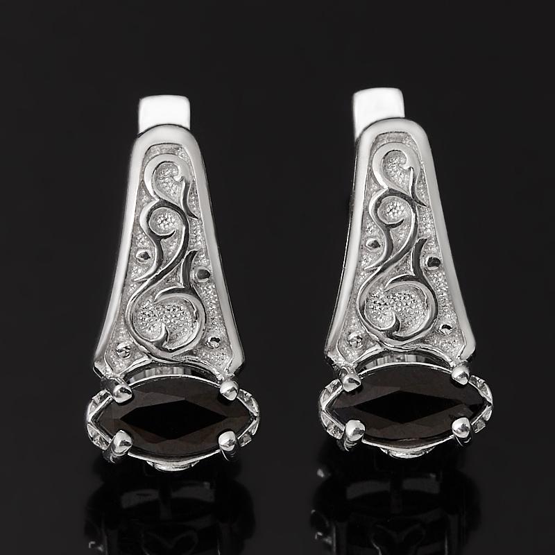 Серьги сапфир черный (серебро 925 пр.) огранка