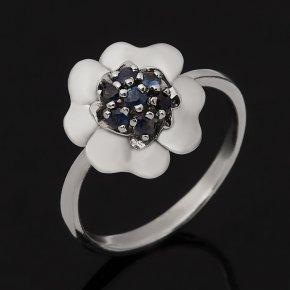 Кольцо сапфир черный Индия (серебро 925 пр. родир. бел.) огранка размер 18