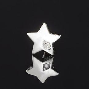 Серьги бриллиант Россия (серебро 925 пр. родир. бел.) пуссеты огранка (1 шт)