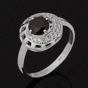 Кольцо сапфир черный Индия (серебро 925 пр. родир. бел.) огранка размер 18,5