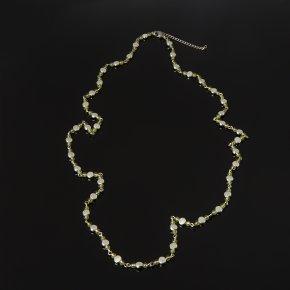 Бусы хризолит США (биж. сплав, сталь хир.) длинные 4 мм 85 см (+7 см)