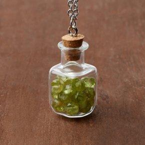 Кулон хризолит США (биж. сплав, сталь хир.) бутылочка огранка 3 см