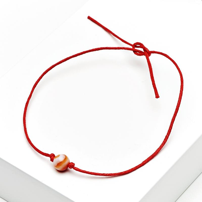 Браслет сердолик Ботсвана (текстиль) красная нить Для здоровья 6 мм 28 см (регулируемый)