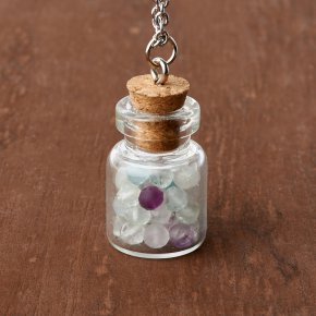Кулон флюорит (биж. сплав, сталь хир., стекло) бутылочка огранка 3 см