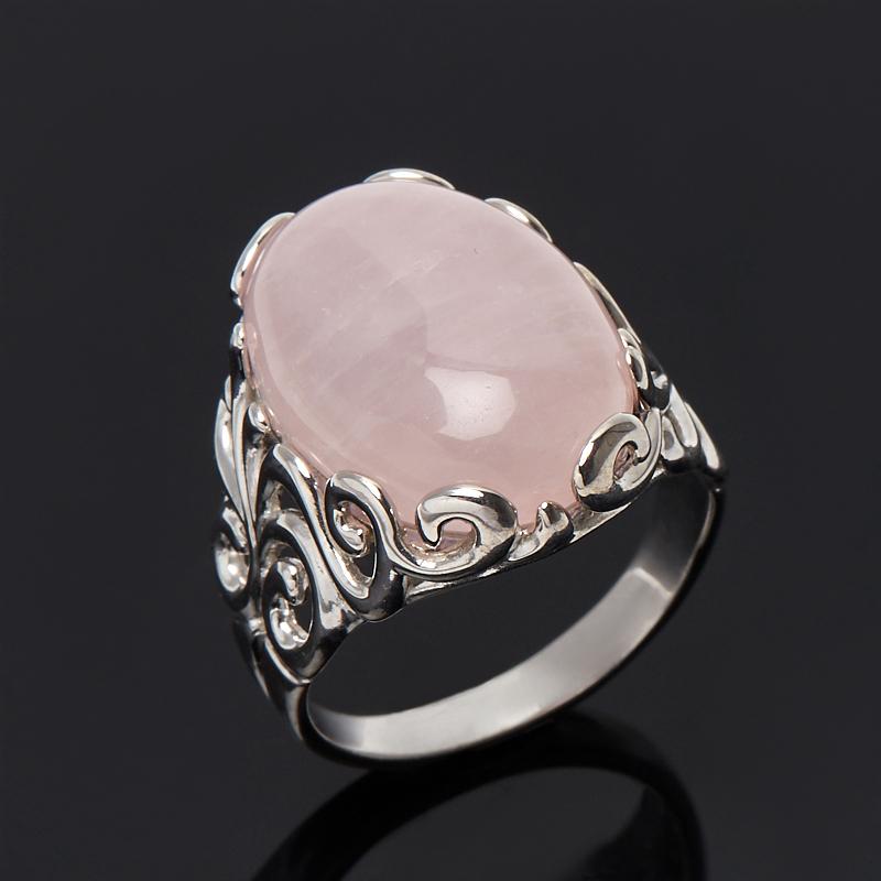 Кольцо розовый кварц (серебро 925 пр. родир. бел.) размер 19