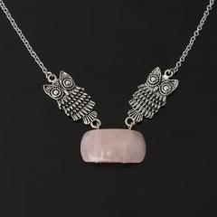 Кулон розовый кварц Бразилия (биж. сплав, сталь хир.)